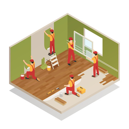 Home renovation remodeling repair isometric composition with workers replacing window frame laying wood laminate floor vector illustration