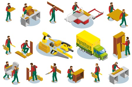 Set of isometric icons furniture makers with professional tools during production and assembly isolated vector illustration