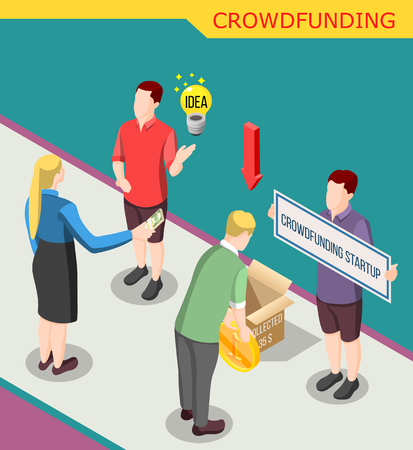 Collect money for crowdfunding startup isometric background with creative idea, persons giving coins vector illustration