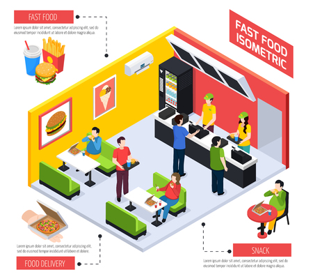 Fast food restaurant isometric composition including clients with overweight behind tables with pizza vector illustration