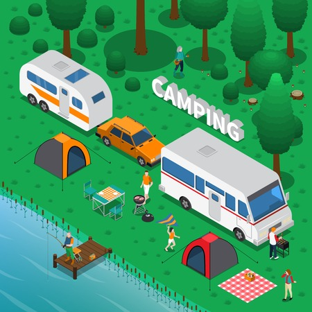 Camping concept with fishing trailer and family symbols isometric vector illustration