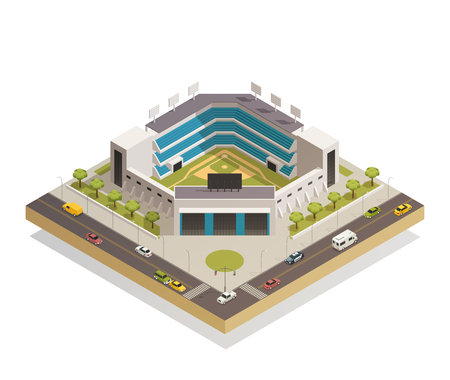 Classic baseball ballpark play area with sport stadium seating entrance and adjacent streets isometric composition vector illustration