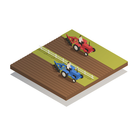 Spring fieldwork plowing and sowing agricultural farm machinery equipment in work isometric composition vector illustration.