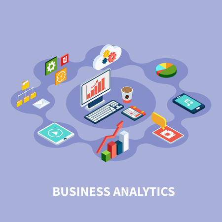 Data isometric round composition with financial pictograms gadgets gear and cloud computing icons and desktop computer image vector illustration.