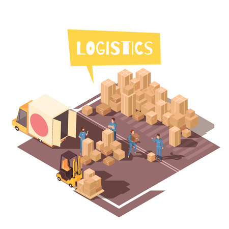 Isometric logistic composition with human characters of warehouse loaders vehicles and bunch of cardboard parcel boxes vector illustration