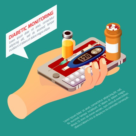 Diabetic monitoring isometric composition with hand holding smartphone, sugar measuring device, medication on turquoise background vector illustration Çizim