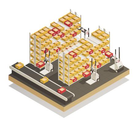 Najnowszy w pełni zautomatyzowany supermarket i sklep półki w technologii uzupełniania izometrycznego składu z ilustracją wektorową dostawy produktów przenośnikowych.
