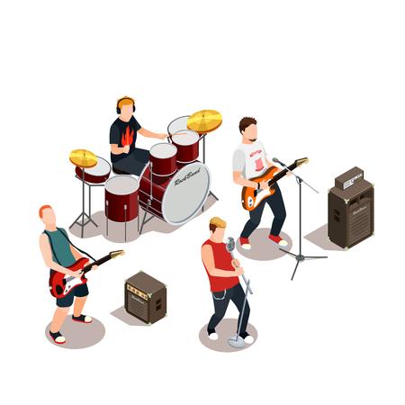 Banda de rock con instrumentos musicales, equipo de concierto durante la composición isométrica de rendimiento en la ilustración de vector de fondo blanco Ilustración de vector