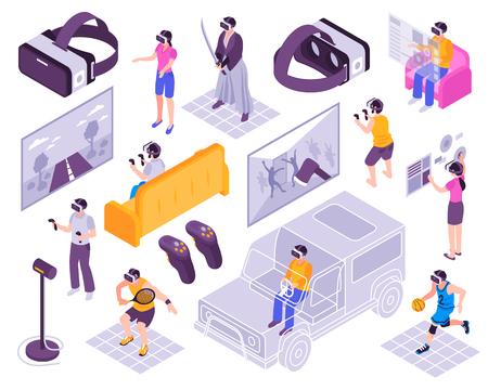 Simuladores de experiencia inmersiva de realidad virtual Ilustración de vector