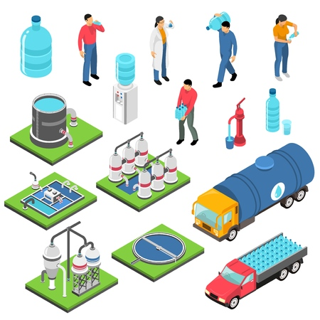 Water purification set of isometric icons with treatment plant, clean drink in plastic bottles isolated vector illustration