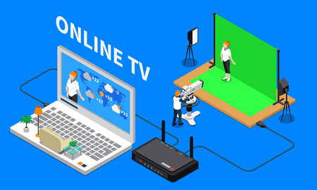 Telecommunication isometric composition with television program shooting