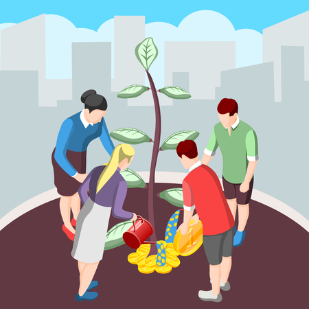 Nurturing idea for crowdfunding isometric background with persons watering tree and giving money vector illustration