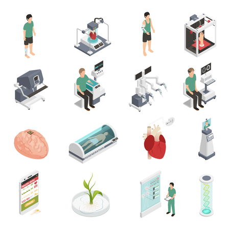 Medical future technologies isometric icons set with 3d organs printing regeneration genetic engineering prosthesis isolated vector illustration Stock Vector - 96781380