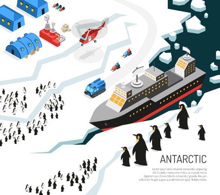 Isometrisches Plakat der eisbedeckten Landmasse des Antarktis-Kontinents mit Eisbrecherforschungsstations-Regelungspinguinen und Hubschrauber vector Illustration