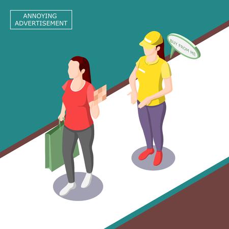 강박적인 발기인과 소녀가 대화를 거부하는 방해가되는 광고