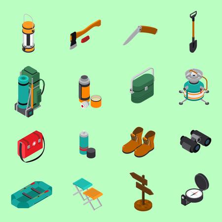 Hiking icons set on green background Illustration
