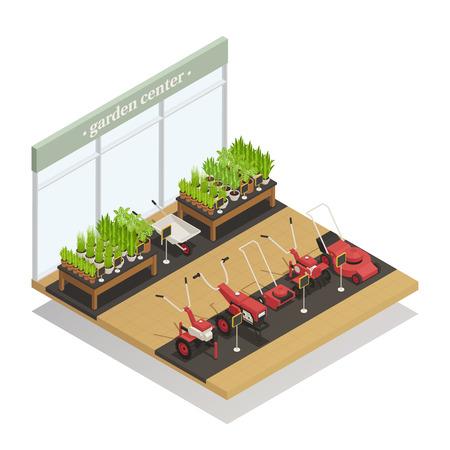 어린 식물과 농업 장비 판매 정원 일러스트