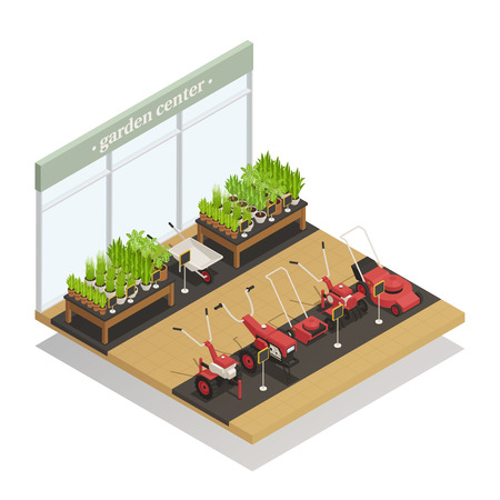 Garden with young plants and agricultural equipment sale  イラスト・ベクター素材