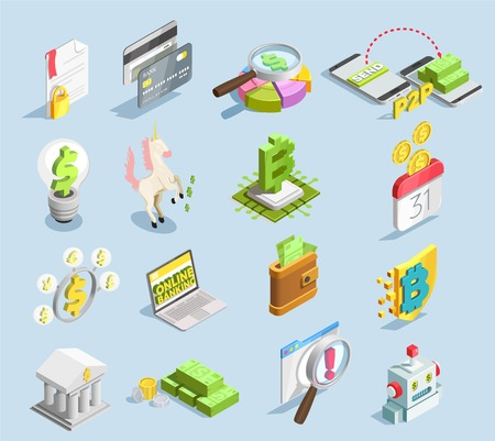 Financial technology isometric set Ilustracja