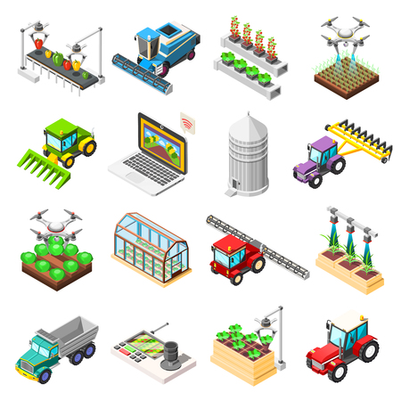 Agricultural isometric icons set of remotely controlled robots used for plowing cultivation harvesting isolated vector illustration.