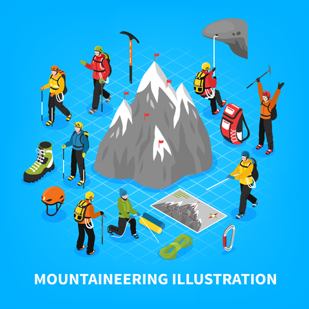 Mountaineering isometric vector illustration with snow mountain touristic equipment and tools for climbers rising.