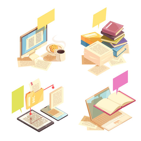 Library 2x2 design concept with stacks of paper books pc monitor with text page on screen electronic document management isometric icons vector illustration