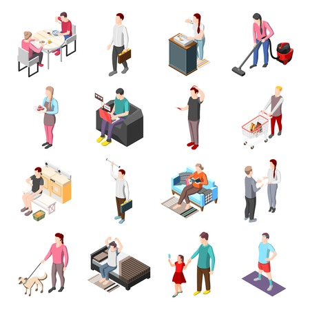 Life of ordinary people isometric icons set Vectores