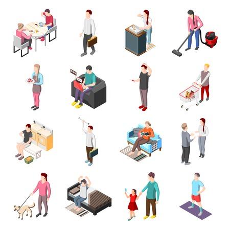 Life of ordinary people isometric icons set Vettoriali