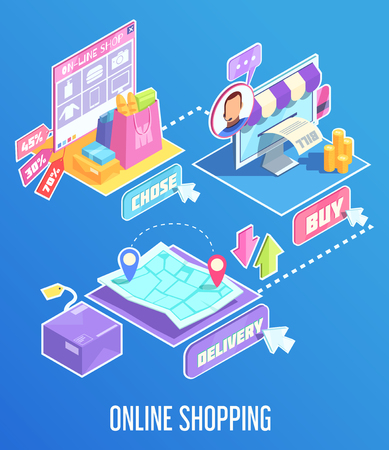 Products choice in internet shopping, buying online, order delivery, isometric composition on blue background. Vector illustration.