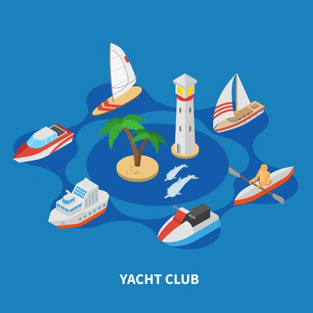 Yacht club isometric round composition on blue background with sail and motor boats, tug, lighthouse vector illustration