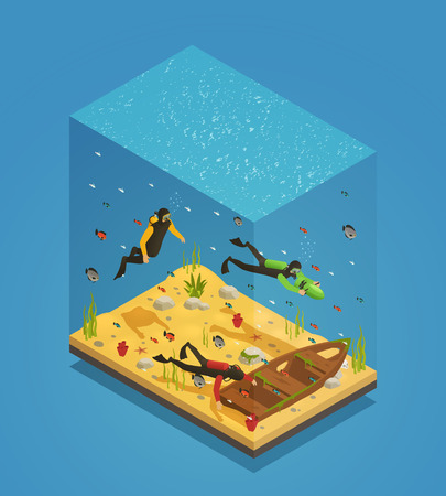 Adventurous scuba divers exploring sunken ship with underwater scooter equipment uncovering treasures isometric composition vector illustration
