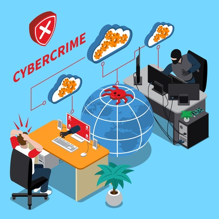 Cyber crime isometric concept with data security symbols on blue background isometric vector illustration