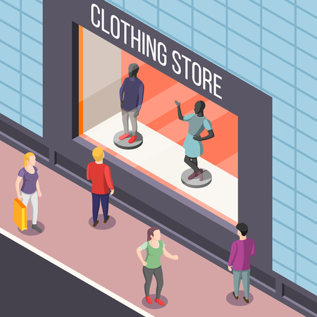 Showcase of fashion clothing store with dummies