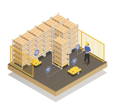 Inteligentna przemysłowa inteligencja maszynowa w jednostce magazynowej produkcji Ilustracje wektorowe