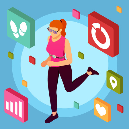 Isometric wearable sport devices background with female human character doing taking exercises with mobile fitness application pictograms vector illustration