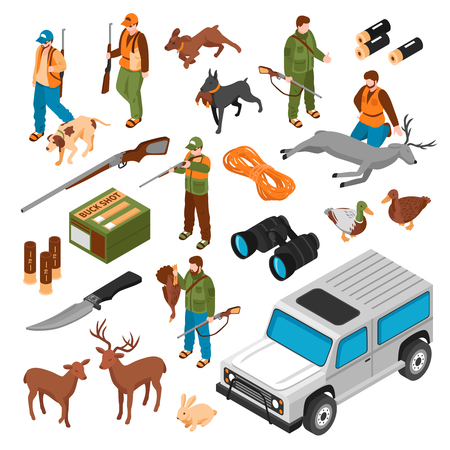 Hunting accessories equipment ammunition shooters vehicle gun dogs killed deer animals isometric icons collection isolated vector illustration Illustration