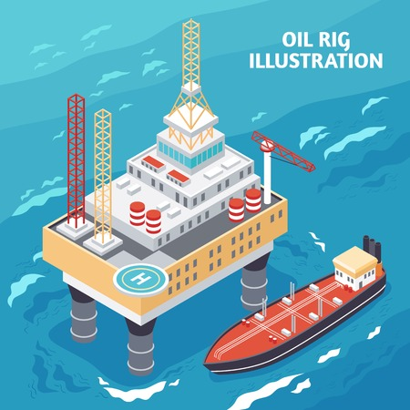 Oil gas industry isometric composition with offshore platform jack-up drilling rig and tanker vessel vector illustration