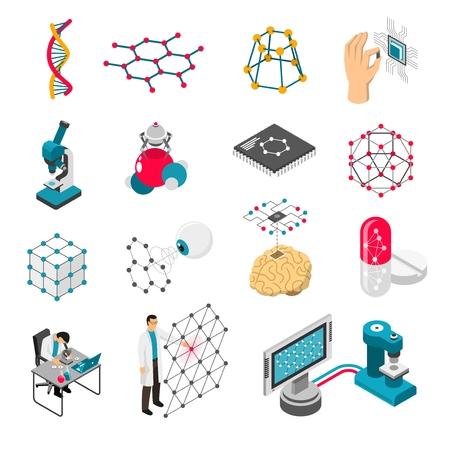 과학 실험실, 격자 및 입자, 의료 혁신 격리 된 벡터 일러스트와 함께 아이소 메트릭 아이콘의 나노 기술 세트