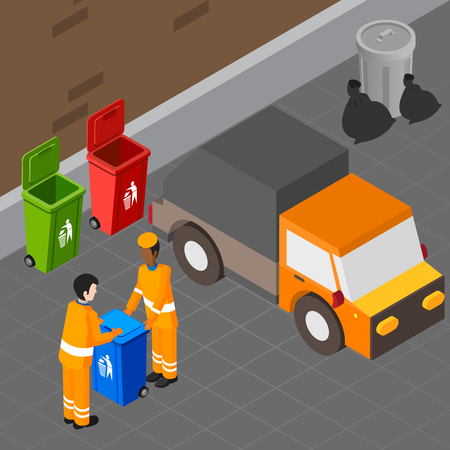 Garbage isometric composition with two human characters of collection workers carrying rubbish bin towards sanitation truck vector illustration