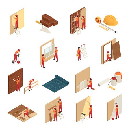 Iconos isométricos de renovación del hogar establecidos con mosaico colgando marcos de ventana de papel tapiz reparación y reemplazo aislado ilustración vectorial Ilustración de vector