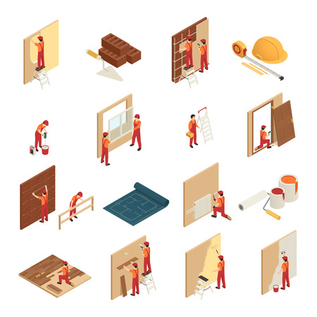 Home renovation isometric icons set with tiling  hanging wallpaper window frames repair and replacement isolated vector illustration