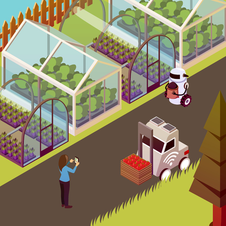 Agricultural robots isometric background with view of husbandry farm walk with robots and line of hothouses vector illustration