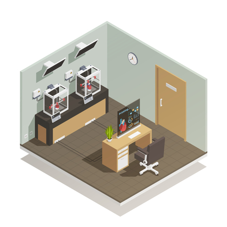 Scientific medical computer controlled facility for human organs tissues preservation research and donations isometric composition vector illustration  Çizim