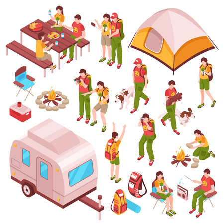 Picnic barbecue family summer vacations holidays camping isometric icons collection with people pets tent caravan vector illustration