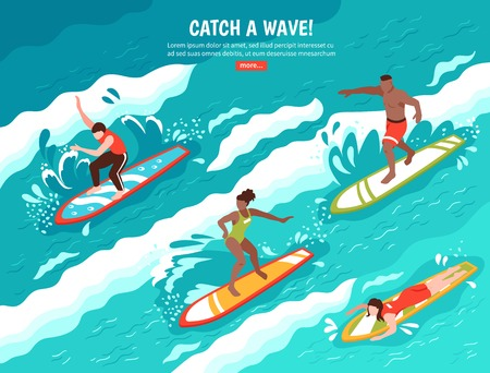 Surf flat composition with group of human characters surfing water wave on surfboards with read more button vector illustration