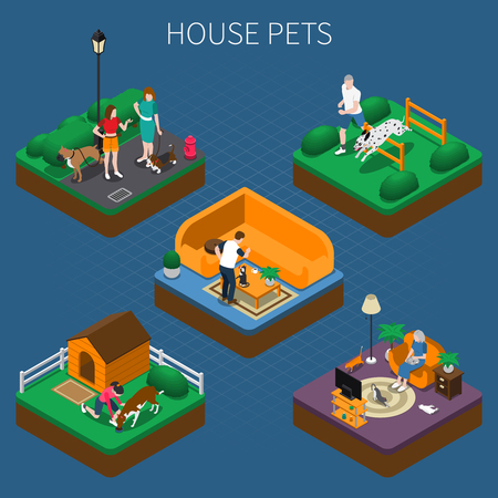 People spending time with their pets at home and outdoors isometric composition set, 3d vector illustration.