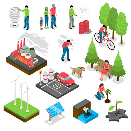Ecology isometric set with green energy, air and water pollution, electric car, nature revival isolated vector illustration Vectores
