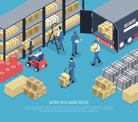 Work in ware house scene with staff, shelves with packages, shipment goods from truck isometric vector illustration  Illustration