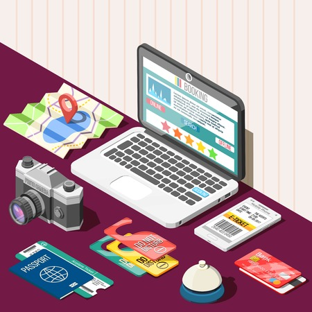 Travel isometric design concept with passport tickets bank card laptop and online booking app on screen vector illustration Illustration