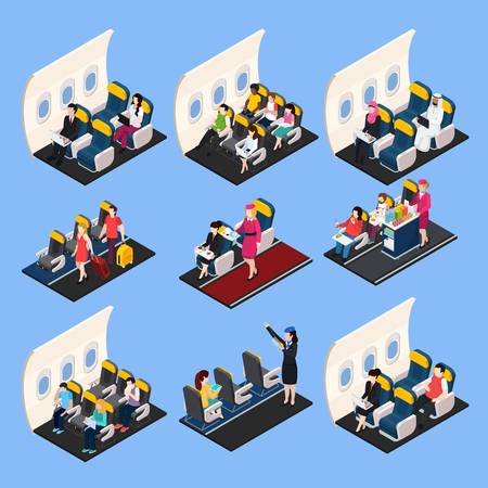 Airplane passengers and crew isometric composition set, isolated vector illustration. Illustration